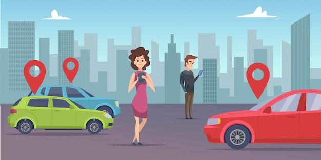 Condividere l'auto. uomo e donna in cerca di veicolo con app per smartphone. noleggia un'auto online
