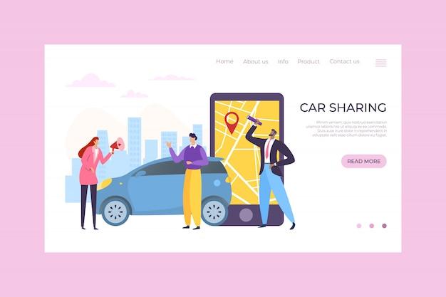 Car sharing servizio app mobile, illustrazione. ordine online e mappa su smartphone, trasporto di personaggi in affitto online.