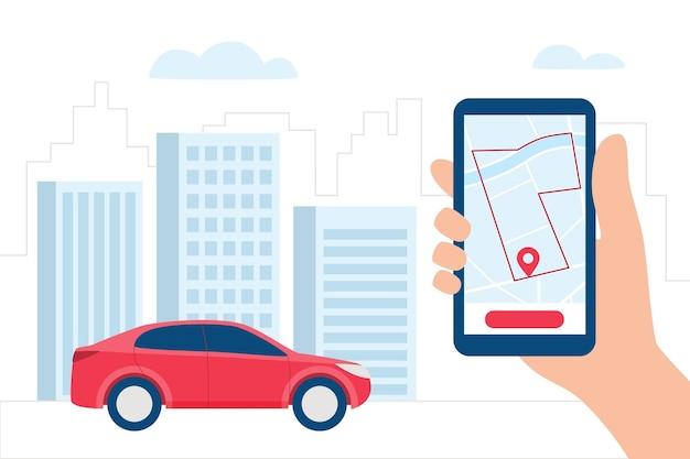 Car sharing, navigazione, posizione app concept. smartphone in mano e auto con app di car sharing