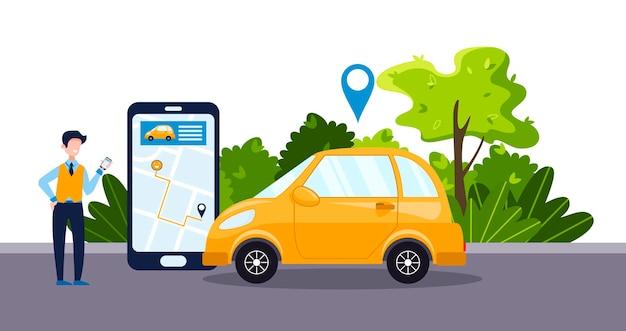 Concetto di servizio di car sharing con app telefonica per uomo d'affari auto gialla mappa online e noleggio auto