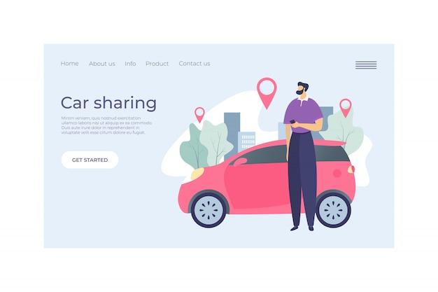 Illustrazione dell'insegna di web di concetto di atterraggio di servizio di car sharing. veicolo in affitto urbano di carattere maschile, punto gps segno. man hold telefono cellulare.