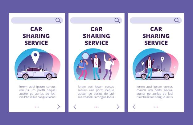 Modello di vettore delle pagine dell'app mobile del servizio di car sharing