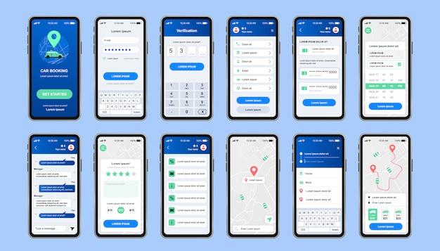 Car sharing kit di progettazione unico per app mobile. schermate degli ordini di auto a noleggio online con navigazione della mappa e menu account utente. interfaccia utente del servizio di prenotazione auto, set di modelli ux. gui per un'applicazione mobile reattiva.