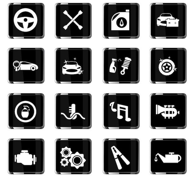Icone vettoriali del negozio di auto per la progettazione dell'interfaccia utente