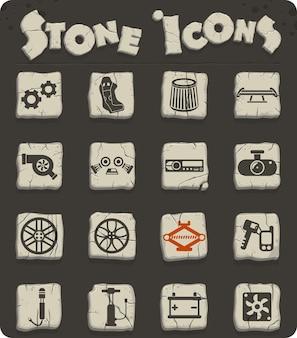 Icone vettoriali del negozio di auto per il web e la progettazione dell'interfaccia utente