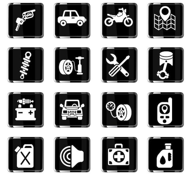 Icone web del negozio di auto per il design dell'interfaccia utente