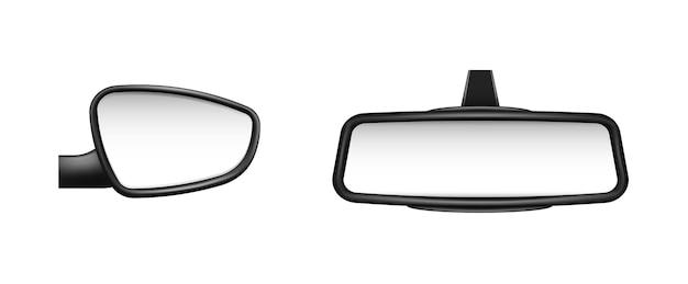 Modello di specchietti retrovisori laterali e posteriori dell'auto. oggetti specchiati vuoti