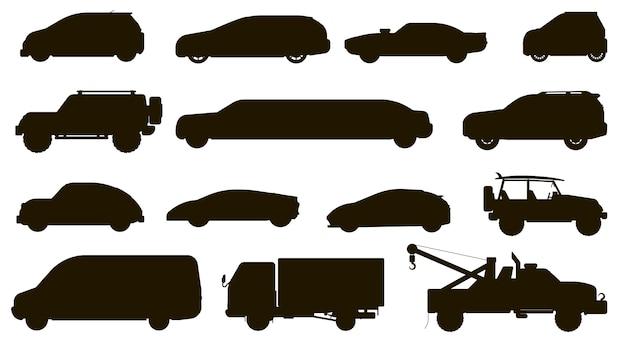 Sagoma auto. diversi tipi di automobili. autovettura a tre oa cinque porte isolata, cuv, furgone, camion di rimorchio, berlina, taxi, raccolta piana dell'icona del veicolo dell'automobile di suv. tipi e trasporti di trasporto di autoveicoli urbani