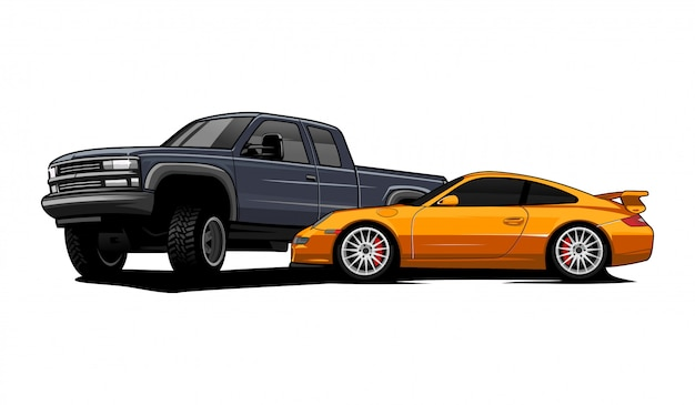 Sport car e pickup car illustrazione