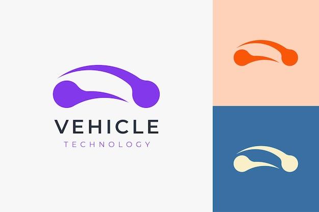 Tecnologia automobilistica o logo automobilistico in forma semplice e futuristica