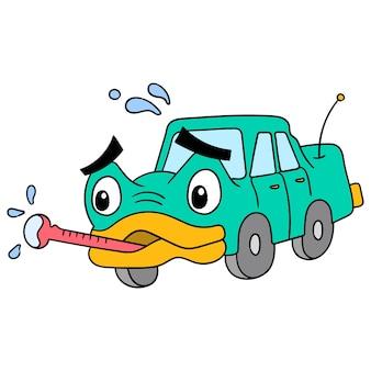 Un'auto danneggiata dal calore eccessivo deve essere portata in un'officina di riparazione, illustrazione vettoriale. scarabocchiare icona immagine kawaii.