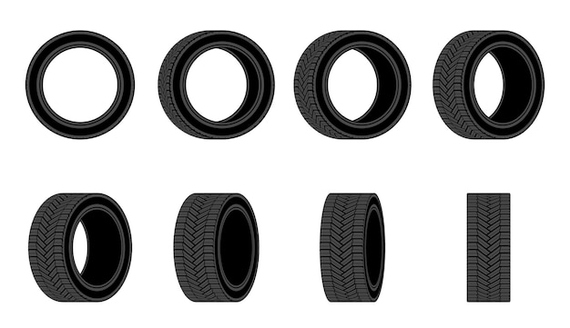 Icona di pneumatici per auto. ruota di pneumatici con angoli diversi.
