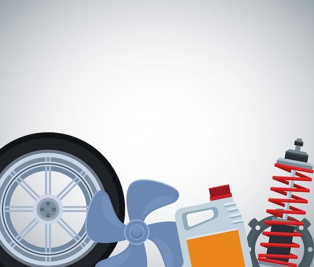 Pneumatico per auto con elica, bottiglia di olio e ammortizzatore