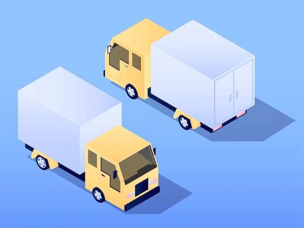Illustrazione isometrica piana di progettazione di vettore del camion dell'automobile