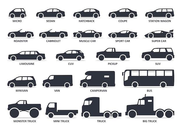 Set di icone del tipo di auto icona nera vettoriale isolata varianti della silhouette del corpo dell'automobile del modello