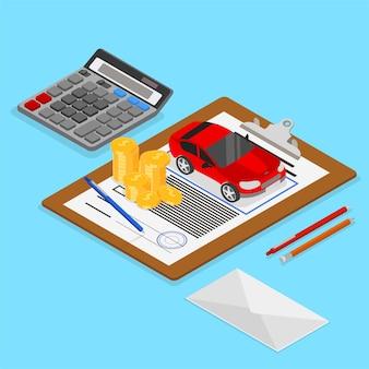 Illustrazione isometrica di valutazione dell'auto e assicurazione con auto e documenti su sfondo blu