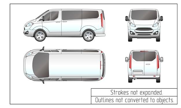 Contorni del disegno del furgone dell'auto non convertiti in oggetti