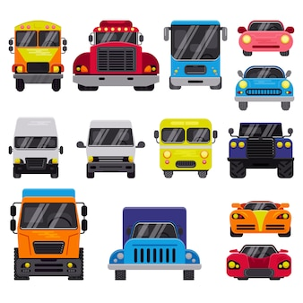 Illustrazione fuori strada del veicolo dell'automobile di trasporto di consegna automatica di vista frontale di vettore dell'automobile