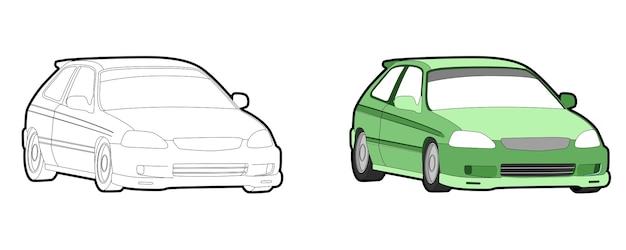 Pagina da colorare di cartoni animati veicolo auto per i bambini