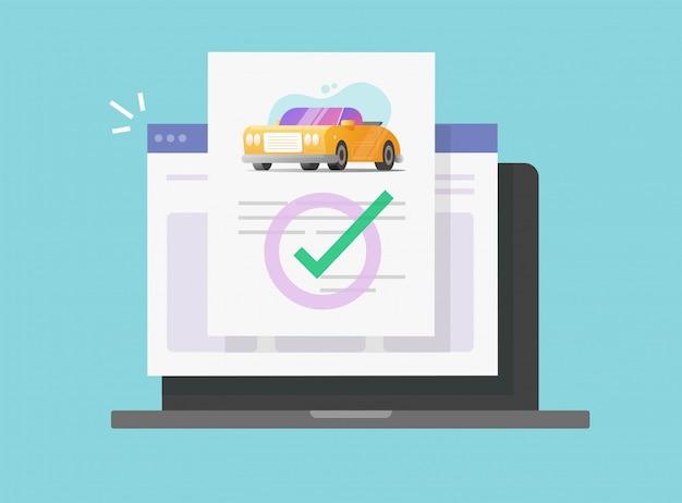 Controllo online del documento legale di assicurazione del veicolo o dell'automobile sul computer portatile o sull'illustrazione piana del cartone del contratto dei dettagli di accordo digitale dell'automobile