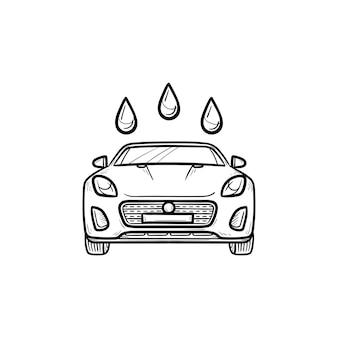 Icona di doodle di contorni disegnati a mano di autolavaggio. doccia auto e servizio auto, concetto di veicolo pulito e fresco