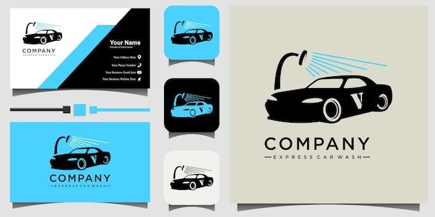 Illustrazione del design del logo dell'autolavaggio con lo sfondo del modello di biglietto da visita