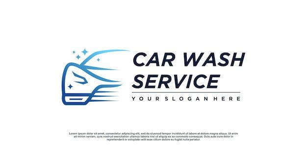 Design del logo dell'autolavaggio con concept creativo vettore premium