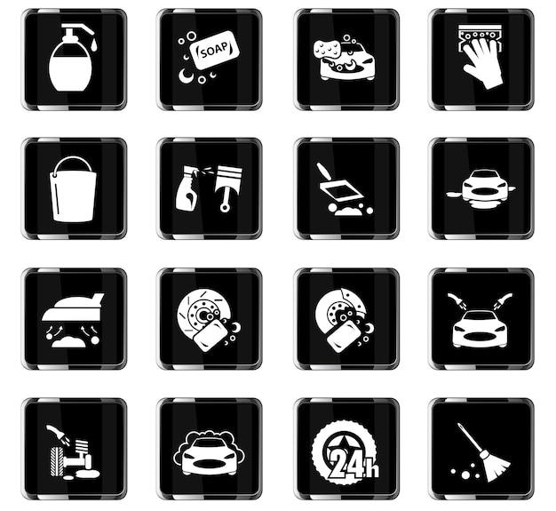 Icone vettoriali di lavatrice per auto per il design dell'interfaccia utente