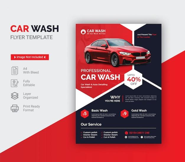 Modello di volantino di lavaggio auto