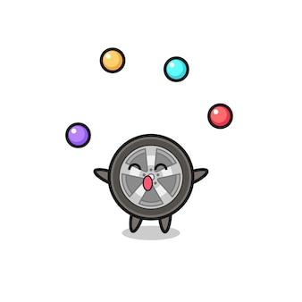 Il fumetto del circo della ruota dell'auto che si destreggia con una palla, design in stile carino per maglietta, adesivo, elemento logo