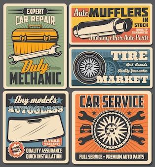 Pneumatici per ruote auto, ricambi auto, cassetta degli attrezzi meccanica