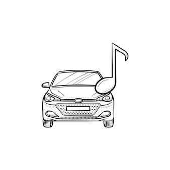 Auto con una nota, icona di doodle di contorno disegnato a mano acustico