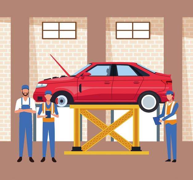 Scenario di officina auto con auto sollevata e meccanica in piedi