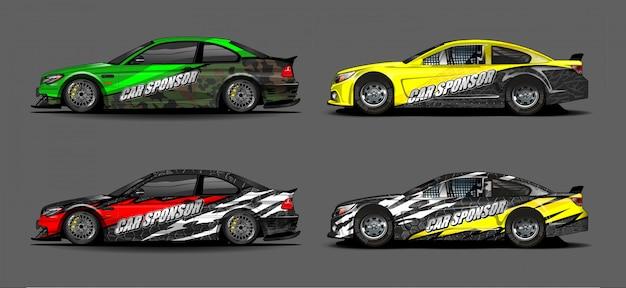 Vettore di progettazione di decalcomanie per auto. disegni di kit di sfondo grafico astratto per veicolo, auto da corsa, rally, livrea, auto sportiva