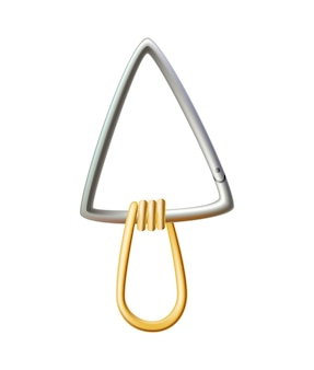 Chiusura a moschettone. moschettone in metallo per collegamento corda da arrampicata. moschettone per borsa, accessorio di sicurezza o di protezione. chiusura ad artiglio, attrezzatura da arrampicata