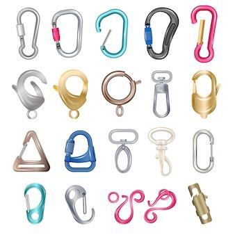Carabiner catenacci illustrazioni metallo colorato ganci, clip, scatto e set di icone di artigli isolato su sfondo bianco