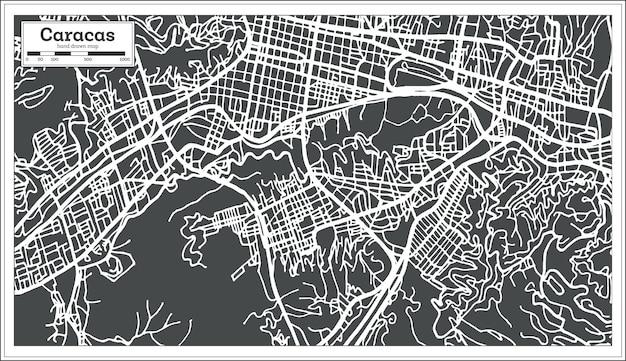 Mappa della città di caracas venezuela in stile retrò. illustrazione di vettore. mappa di contorno.