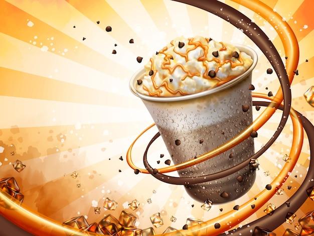Sfondo di frullato al cacao e moka al caramello, congelare la bevanda ghiacciata con panna, fave di cioccolato e topping al caramello