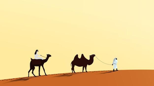 Una carovana di cammelli con persone che camminano lungo la sabbia del deserto. un uomo cavalca un cammello. la seconda persona conduce il cammello al guinzaglio. vettore eps10.