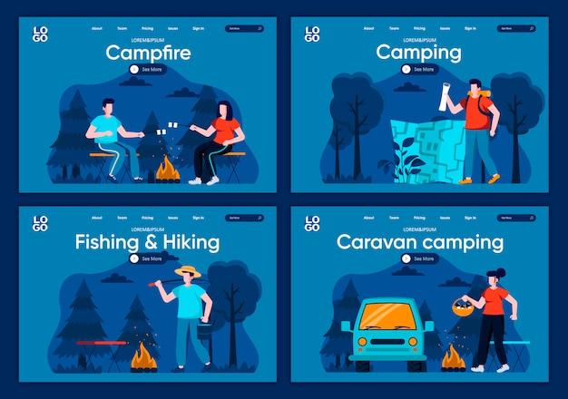 Set di pagine di atterraggio piane di campeggio per camper. in viaggio con zaino e tenda da campeggio, torrefazione di marshmallow sul fuoco in scene di legno per sito web o pagina web cms. illustrazione di pesca ed escursionismo