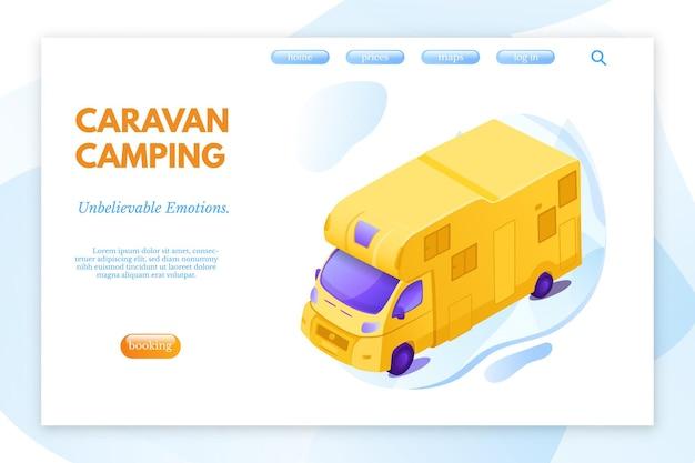 Modello di pagina di destinazione del campeggio per roulotte