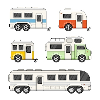 Caravan camping trailer impostato su sfondo bianco.