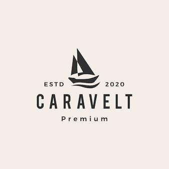 Logo vintage hipster barca caravella