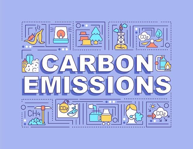 Banner di concetti di parole sulle emissioni di carbonio