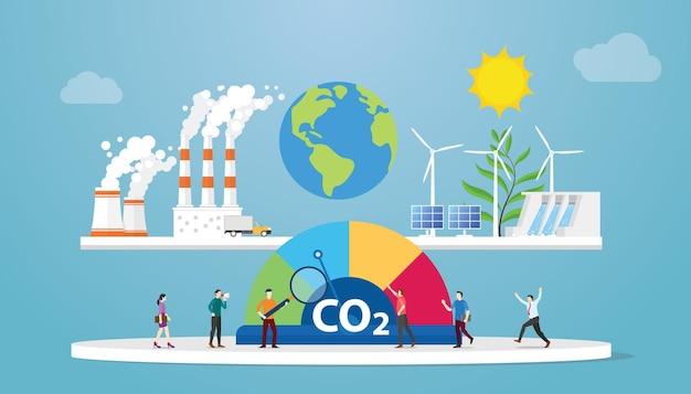 Concetto di equilibrio di co2 a emissioni zero con illustrazione vettoriale di stile piatto moderno