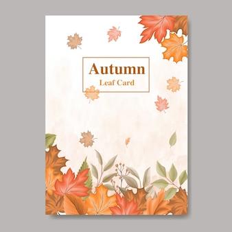 Carta foglie d'autunno modello di progettazione per carta di nozze e invito
