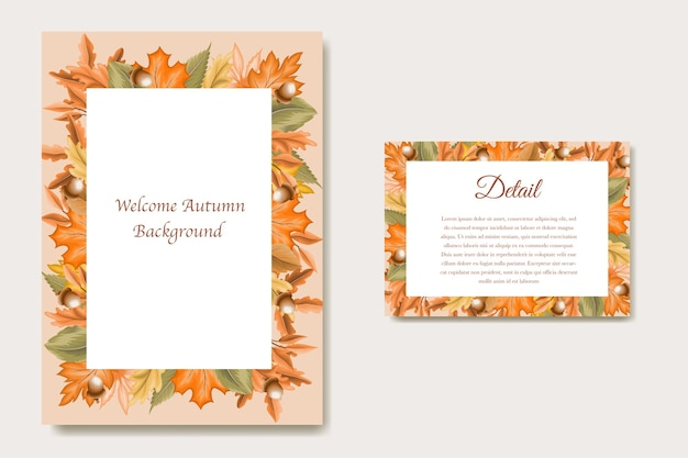 Carta foglie d'autunno per carta di nozze e invito