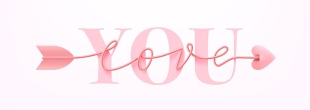 Carta o banner per san valentino con ti amo parola e simbolo dell'iscrizione disegnata a mano di parola di script di amore della freccia sul rosa.