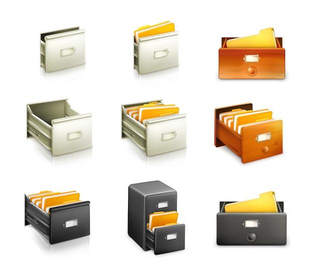 Catalogo di carte, set di icone
