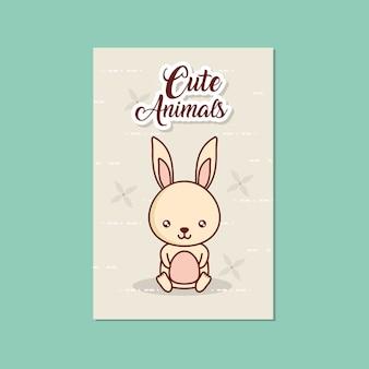 Scheda di simpatici animali con icona di coniglio su sfondo turchese